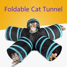 Лидер продаж 2/3/4/5 отверстий 14 цветов Складная Pet туннель для кошек для дома и улицы для домашних животных кота обучающая игрушка для кошки; тапочки с кроликом; шлёпанцы для игровой туннель трубки