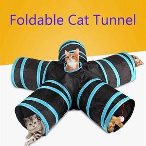 Image 1 - ホット 2/3/4/5 穴 14 色折りたたみペット猫トンネル屋内屋外ペット猫のトレーニングのおもちゃ猫ウサギ動物の演劇トンネルチューブ