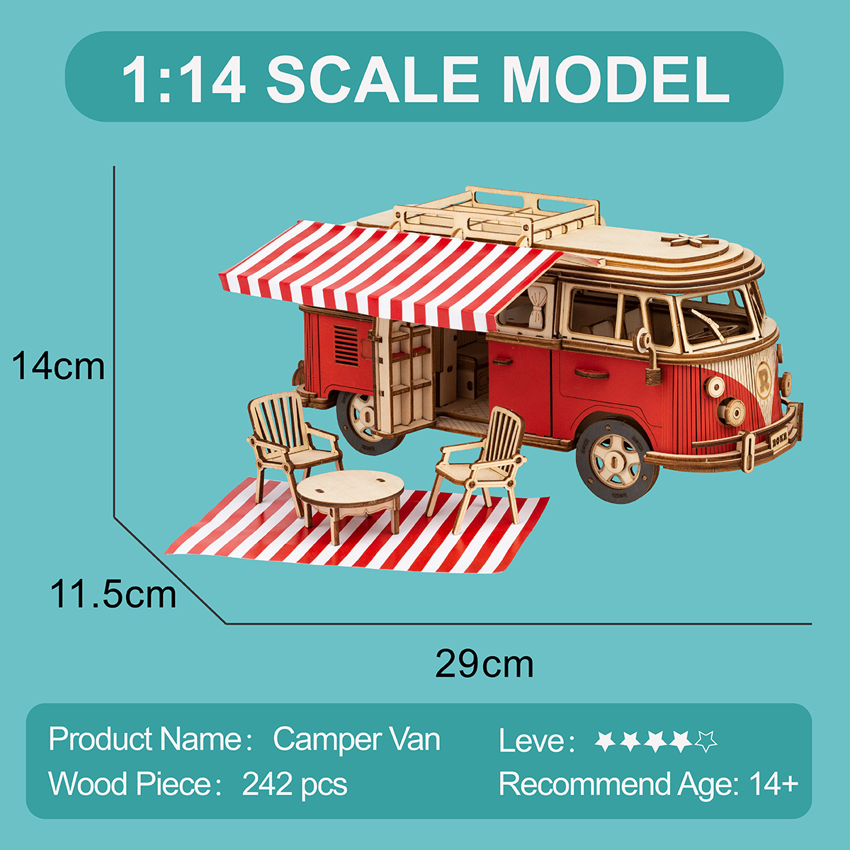 Advertisement - Robotime 242pcs DIY 3D Camper Van Wooden Recreational Vehicle Puzzle Game Assembly Car Toy Gift