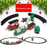 Новый Рождественский детский маленький поезд трек игрушка электрический свет музыка Рождественское украшение маленький поезд классическ...