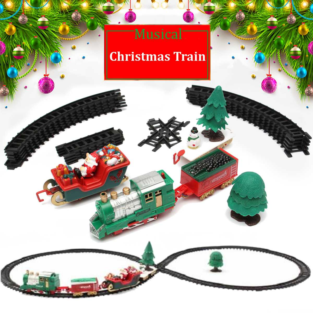 New <font><b>Christmas</b></font> children small train track toy electric light music <font><b>Christmas</b></font> decoration small train classical track image