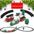 Novas crianças Natal pequena trilha do trem de brinquedo elétrico luz música decoração de Natal pequeno trem pista clássico