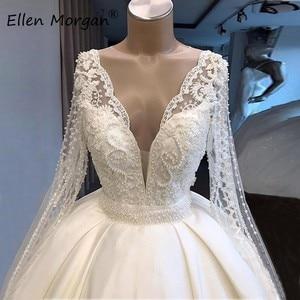 Image 4 - Ivory Satin Long Sleeves Ball Gowns Wedding Dresses for Bridal Vestidos De Novia 2020 Real Photos V Neck Lace Merry Princess