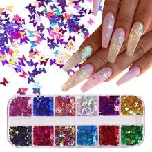 12 pegatinas de uñas coloridas lentejuelas varias formas de mariposa no tóxicas inofensivas de alta calidad fáciles de llevar brillo de uñas