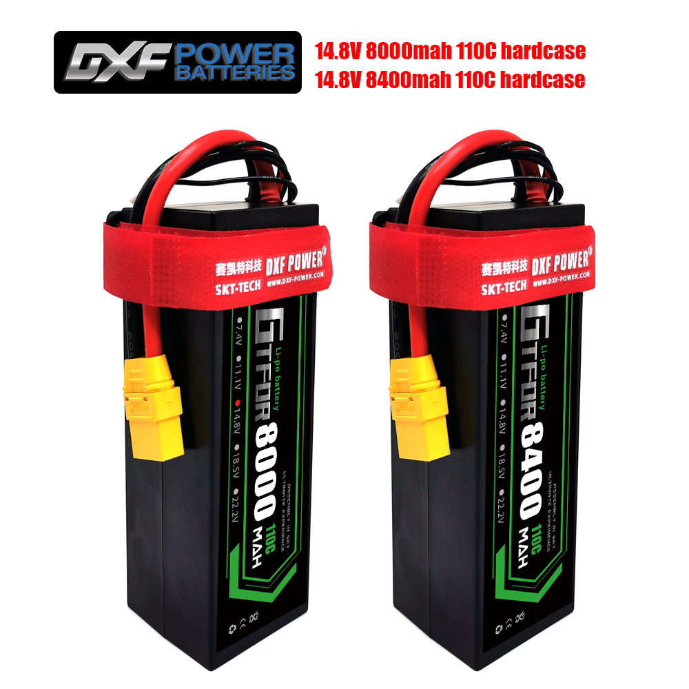 DXF Lipo Battery  4S 8000mah 8400mah 14.8V 110C 220C Hardcase  for 1/8 1/10 Scale Electric RC Buggy Truggy Crawler Car