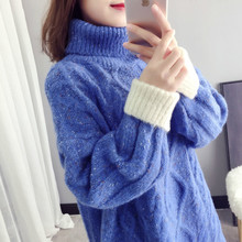 Turtleneck Sweater Women Outside Pullover New Loose Bottoming Sweaters Thick Knitwear Fashion Tops Casual Sweters Invierno women cloak sweater 2019 autumn new loose bat kitted sweater embroidery fashion tops spring leisure women pullover knitwear fc90