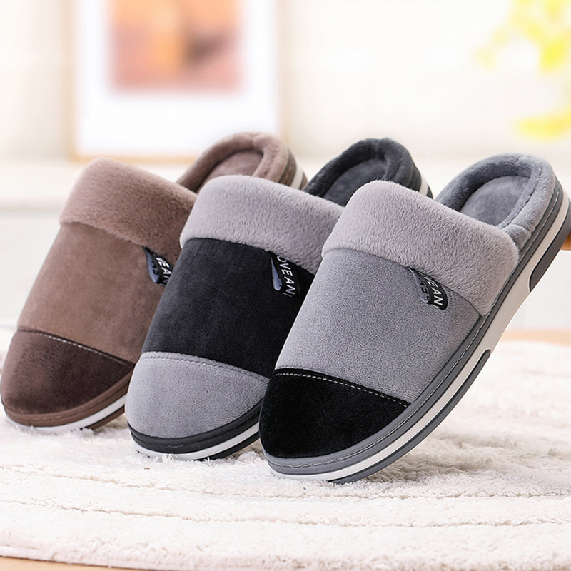 Plus Size 46-49 Plush Warm Home Slippers For Men Winter TPR Patchwork Velvet Rubber Slipper Man Casual Hot Sale