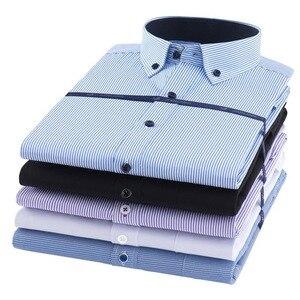 Image 3 - Artı boyutu 8XL erkekler gömlek uzun kollu katı çizgili gömlek erkekler elbise büyük 7XL 6XL beyaz sosyal gömlek erkek giyim streetwear