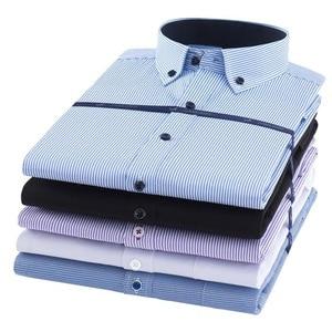 Image 3 - Plus rozmiar 8XL koszula męska z długim rękawem stałe koszule w paski mężczyźni sukienka duża 7XL 6XL białe koszule na przyjęcia towarzyskie mężczyźni odzież Streetwear