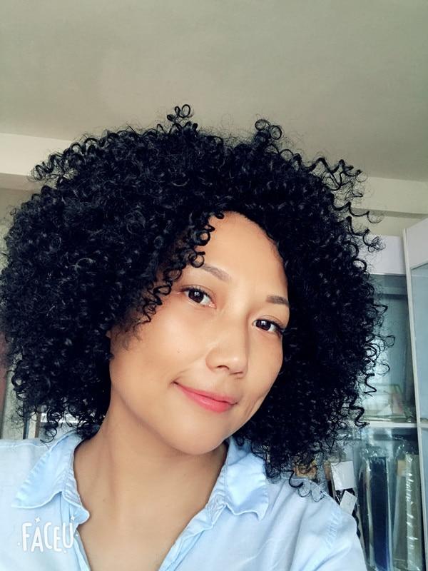 15.5 polegada afro kinky encaracolado perucas para