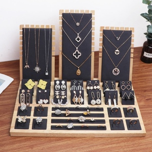 Image 5 - High Quality Bamboo Velvet Jewelry Display Earring Display Stand Ear Stud Earrings Holder Rack Storage Case