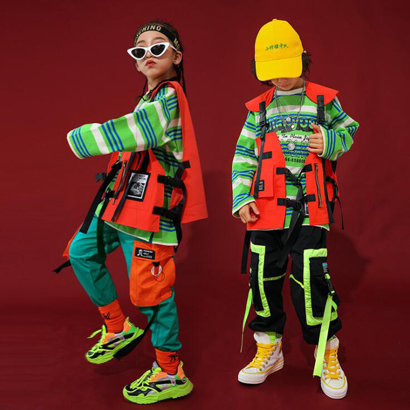 Kids Performance Loose Jacket Sweatshirt Casual Jogger Pants Hip Hop Clothing Girls Ballroom Jazz Dance Costume Clothes Outfit