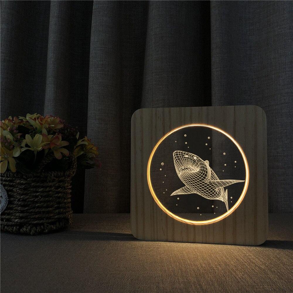 Большой Акула 3D светодиодный Arylic деревянный ночной ламповый светильник переключатель управления спортивной врезной светильник для детско