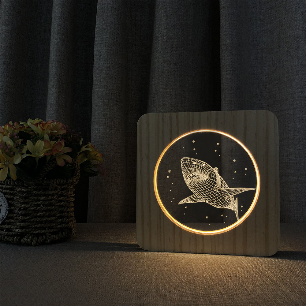 Big Shark 3D LED Arylic Wooden Night Lamp Table Light Switch Control Sports Carving Lamp For Children's Room Decorate Dropship
