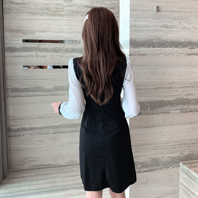 COIGARSAM Office Lady Full Sleeve Women one-piece dress korean New Spring Solid Notched Double Breasted Dresses Black 862 5