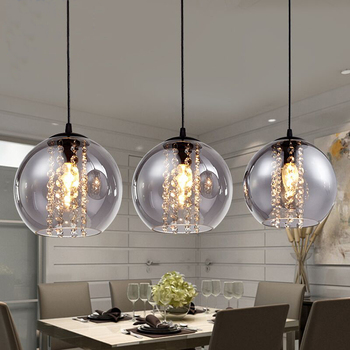 Modern Glass led Pendant Lights amber glass ball Lamps fixture fashion DIY home living room bedroom crystal E14 LED bulb
