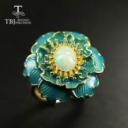 Natural Ethiopia Opal Ring oval 6*8mm Big flower black opal  Ring 925 sterling silver yellow gold  gemstone Ring for women