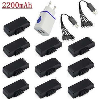Upgrade 2200mAh 3.7V Rechargeable Lipo Battery with 10-Port Charger For SG900 F196 X196 X192 for RC Drone Quadcopter Spare Parts