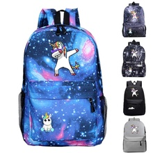 Unicorn Dabbing Schoolbag Student New Backpack Mens and Womens Fashion Teen Bag