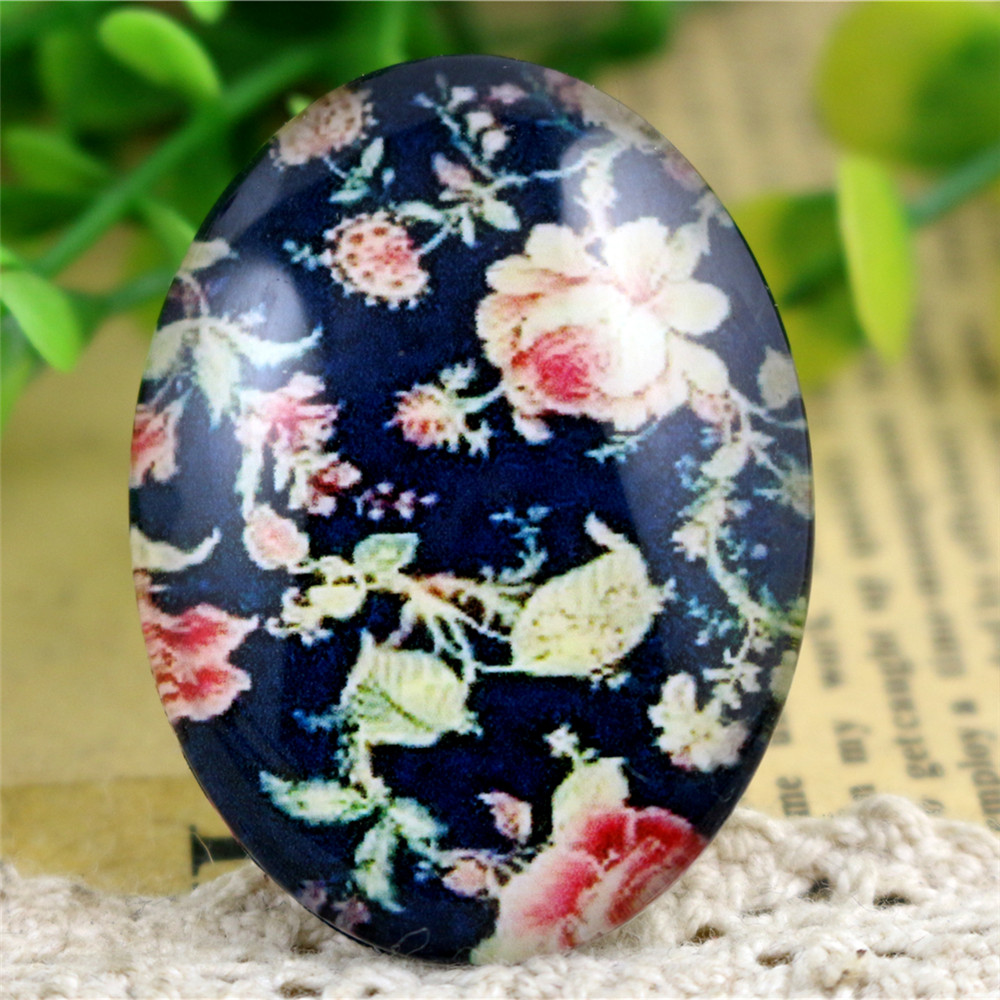 2pcs 30x40mm New Fashion Flower Handmade Photo Glass Cabochons Pattern Domed Jewelry Accessories Supplies-I3-25