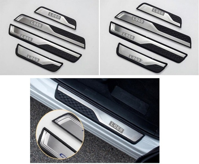 Car Accessories External Door Sill Protector Welcome Pedals Scuff Plate Guards Covers Trim 4Pcs For Honda CRV CR-V 2017 2018 3