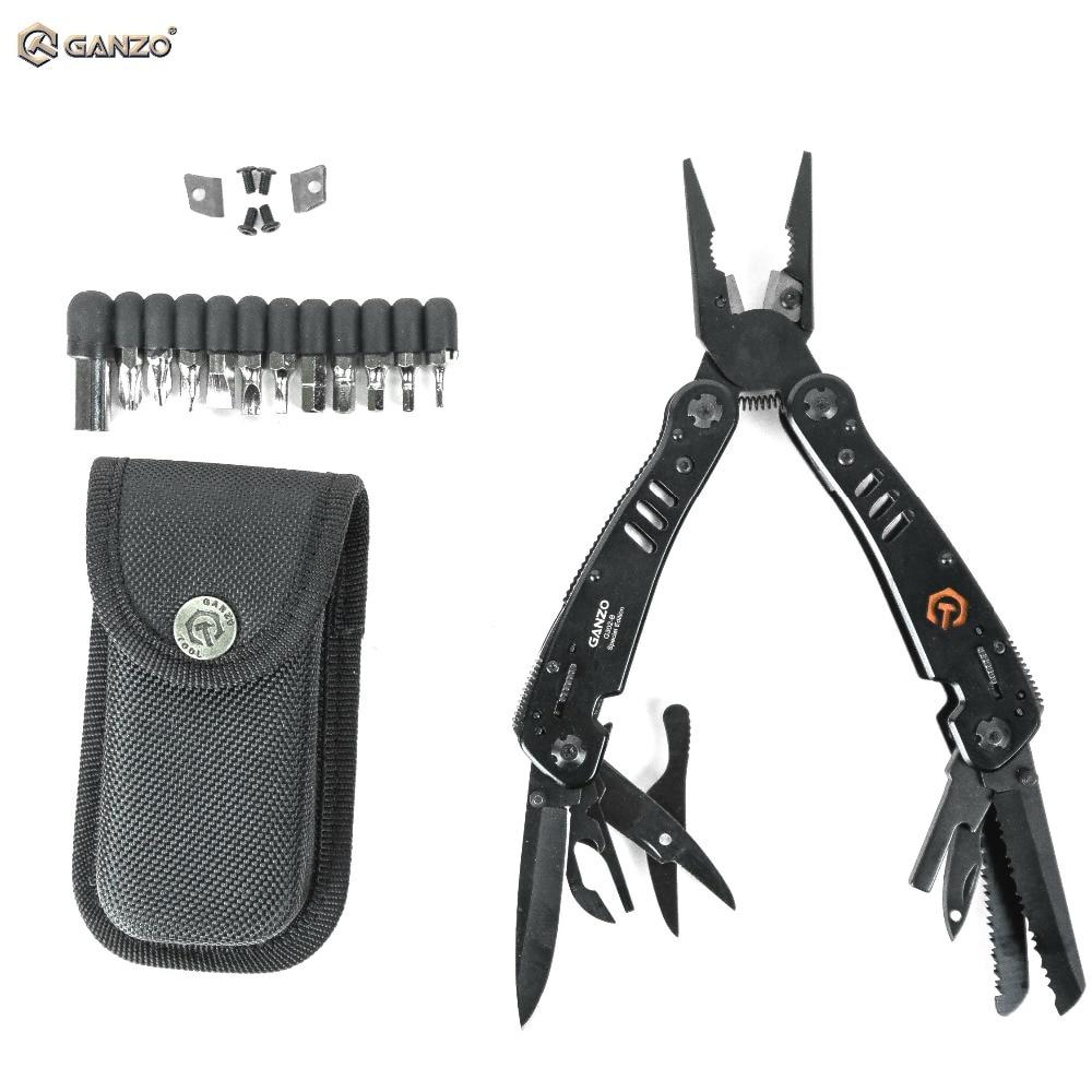 Ganzo G302 G302B Multi Tool Knife Plier EDC Tools Folding Multitool Plier Stain Multifunction Survival Knife Bits Folding Plier