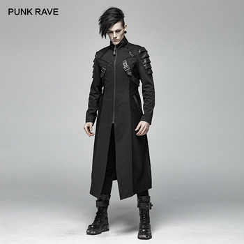 PUNK RAVE Gothic Men\'s Black Armor Mid-length Jackets Coat Steampunk Military Men Coat Stage Performance Costumes Visual Kei - DISCOUNT ITEM  30 OFF Men\'s Clothing
