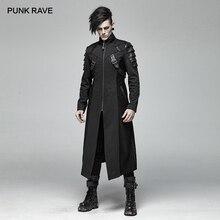 PUNK RAVE Gothic uomo Nero Armatura Mid lunghezza Giubbotti Cappotto Steampunk Militare Degli Uomini Del Cappotto Costumi di Prestazione Della Fase di Visual kei