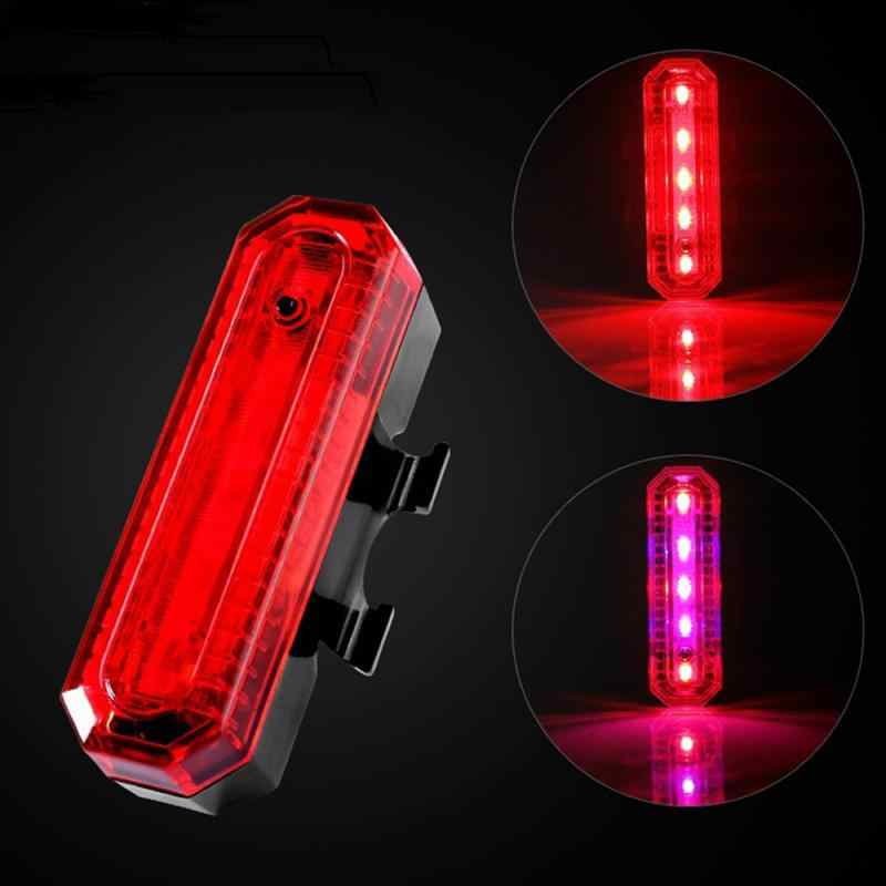 5 LED Bike Tail Light Bicycle Rear Warning Lamp USB Chargeable Night Safe Riding