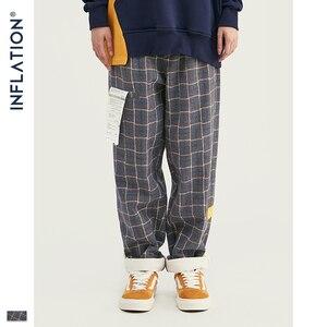 Image 3 - אינפלציה מותג רטרו משובץ צמר גברים מכנסיים Harajuku Loose ישר מקרית גברים מכנסיים 2020 AW רחוב סגנון זכר מכנסיים 93362W