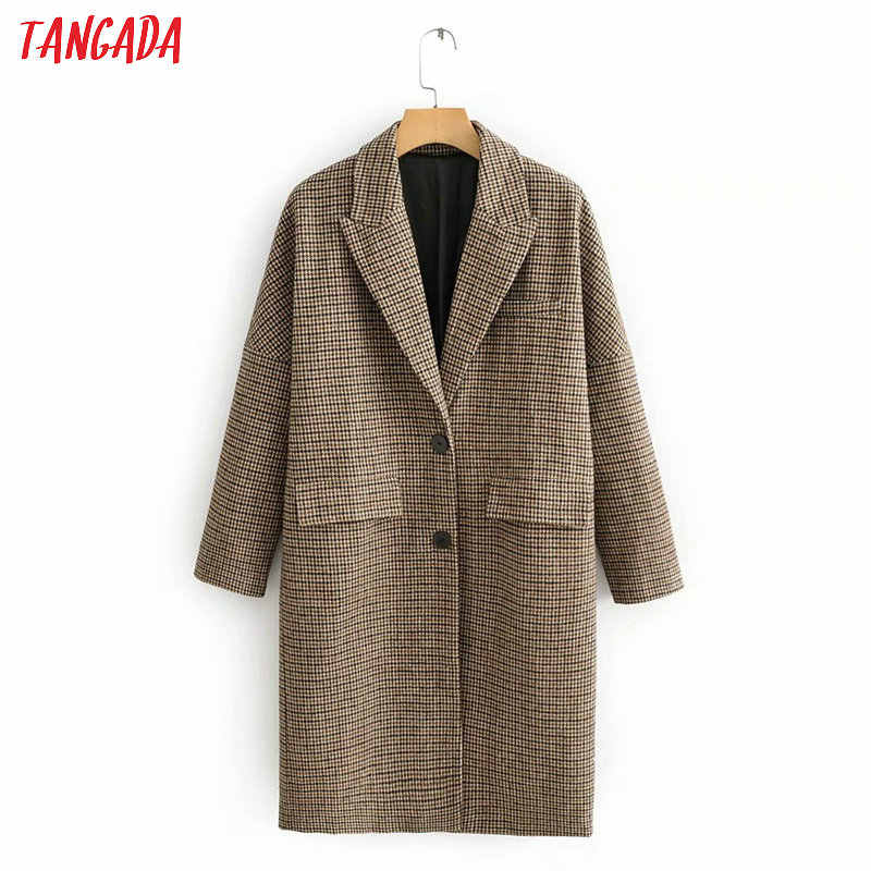 Tangada women vintage plaid thick long coat female winter oversized overcoat vintage long sleeve pockets tops QJ101