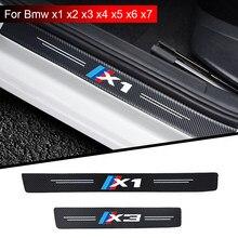 4 шт., автомобильные наклейки углерода кожи волокно подоконник пластина из стекловолокна автомобиля порога двери подоконник защиты для BMW M ...