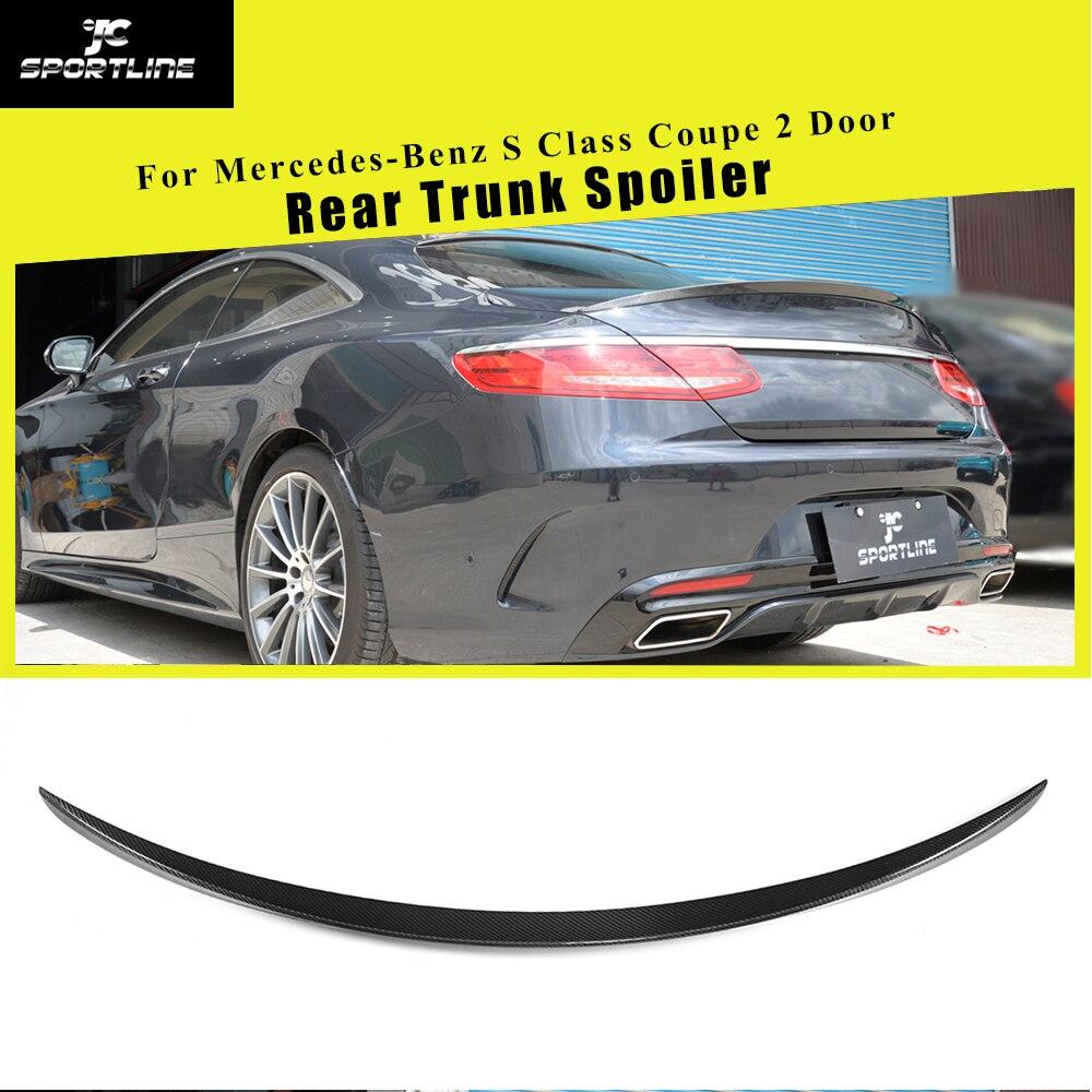 Lèvre d'aile de botte de becquet de coffre arrière noir de Fiber de carbone/FRP pour mercedes-benz classe S S500 S550 S63 S65 AMG coupé 2D 2014-2018