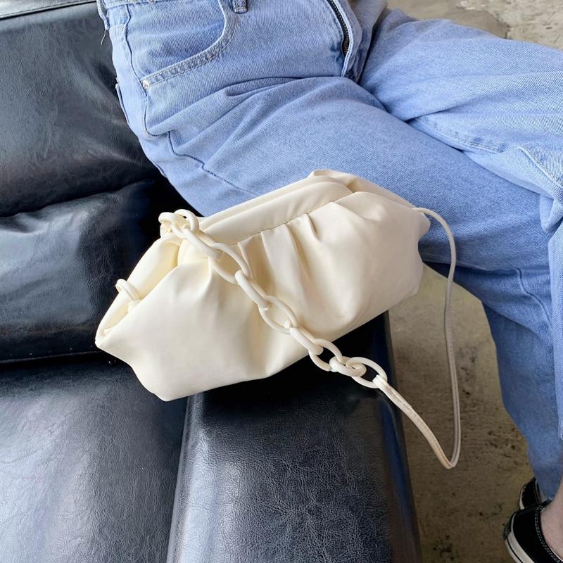 Women Vintage Handbag Leather Hobos Retro Cloud Bags For Women Fashion Shoulder Bag Crossbody Bag Evening Clutch Female Bolsa