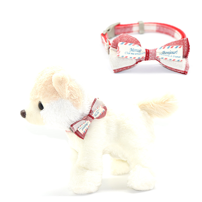 Pet Supplies Handmade Order Flowers Plaid Bow Single Neck Ring Dog Bandana Traction Belt Neck Ring