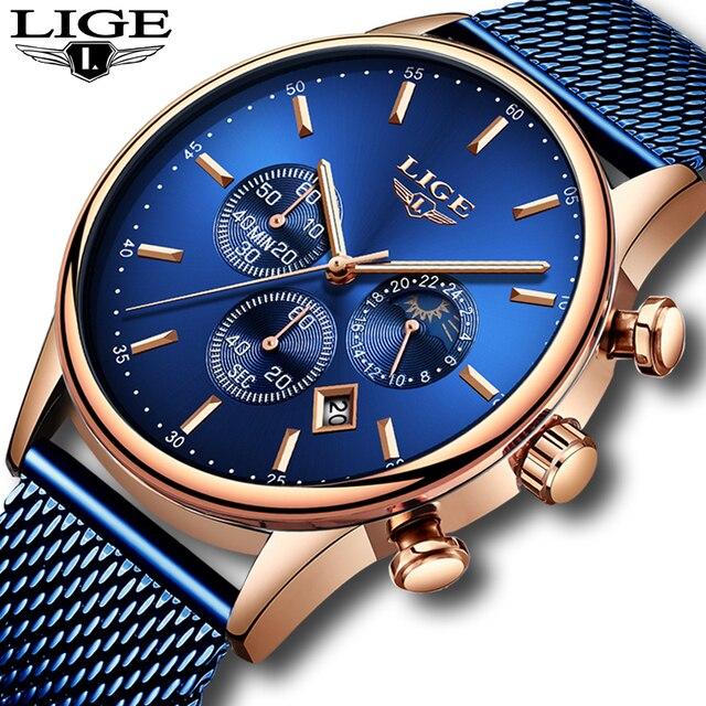 LIGE New Mens Watches Male Fashion Top Brand Luxury Stainless Steel Blue Quartz Watch Men Casual Sport Waterproof Watch Relojes