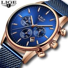 LIGE yeni erkek saatler erkek moda üst marka lüks paslanmaz çelik mavi quartz saat erkekler rahat spor su geçirmez izle Relojes