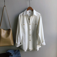 Mooirue Spring Autumn 2019 Female Boyfriend Blouse White Long Buckle White Long Shirt Lady Boho Tops