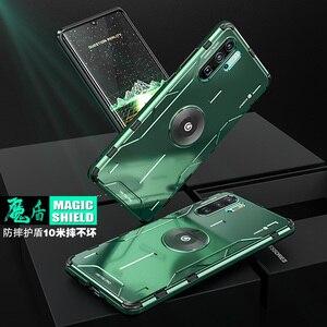 Image 1 - Magiczny pancerz metalowy aluminiowy pokrowiec do Huawei P30 Pro Mate 30 20 Pro pokrowiec z miękkiego silikonu odporny na wstrząsy pokrowiec do Huawei Nova 5 Pro Capa