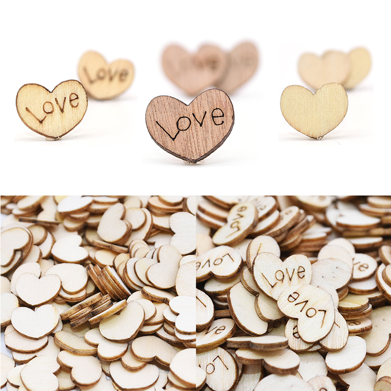 100pcs Rustic Wooden Love Heart Wedding Table Scatter Decoration Wood Crafts Hot