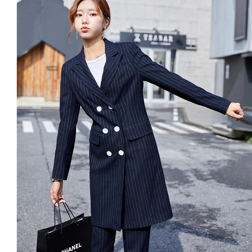Formal Women Blazer Pant Suit For Office Lady Long Stripe Blazer Suit Sets Black Blue Jacket and Pant 2 Piece Sets - 6