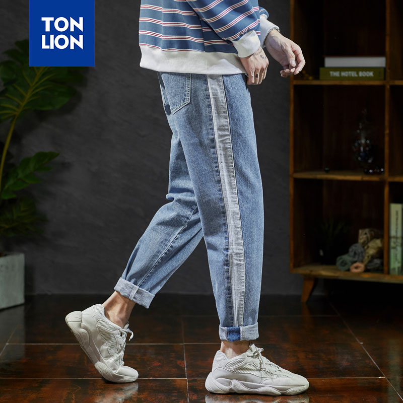 TONLION Side Stripe Men's Jeans Light Blue Pencil Mens Pants Denim Jeans 2020 Spring Autumn Casual Solid Jeans Men Denim Pant OL