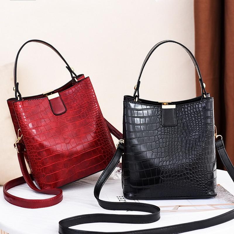Fashion Crocodile Crossbody Bag For Women Shoulder Bag Designer Women Bags Luxury PU Leather Bag Bucket Handbag