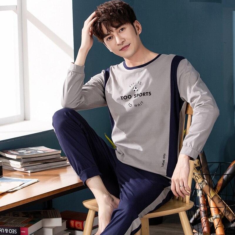 Luxury Men Cloth 2019 Autumn Winter Warm 100%Cotton Men Sleepwear   Set   Simple Fashion Home Wear   Pajamas     Set   for Men Elastic Pants
