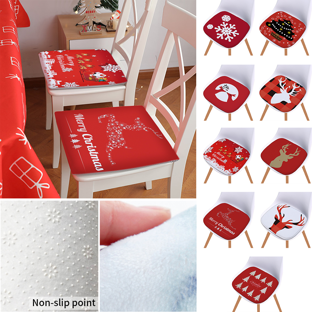 Christmas Decorations Christmas Series Soft Seat Pads Non-slip Cushion Cartoon Style Chair Cushion For Home Kitchen Decoration
