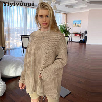 Yiyiyouni Casual Oversized Sweater Women Loose Solid Knitted Pullovers Women Autumn O-neck Long Sleeve Korean Sweaters Female 2019 spring new women half sleeve loose flavour black dress long summer vestido korean fashion outfit o neck big sale costume