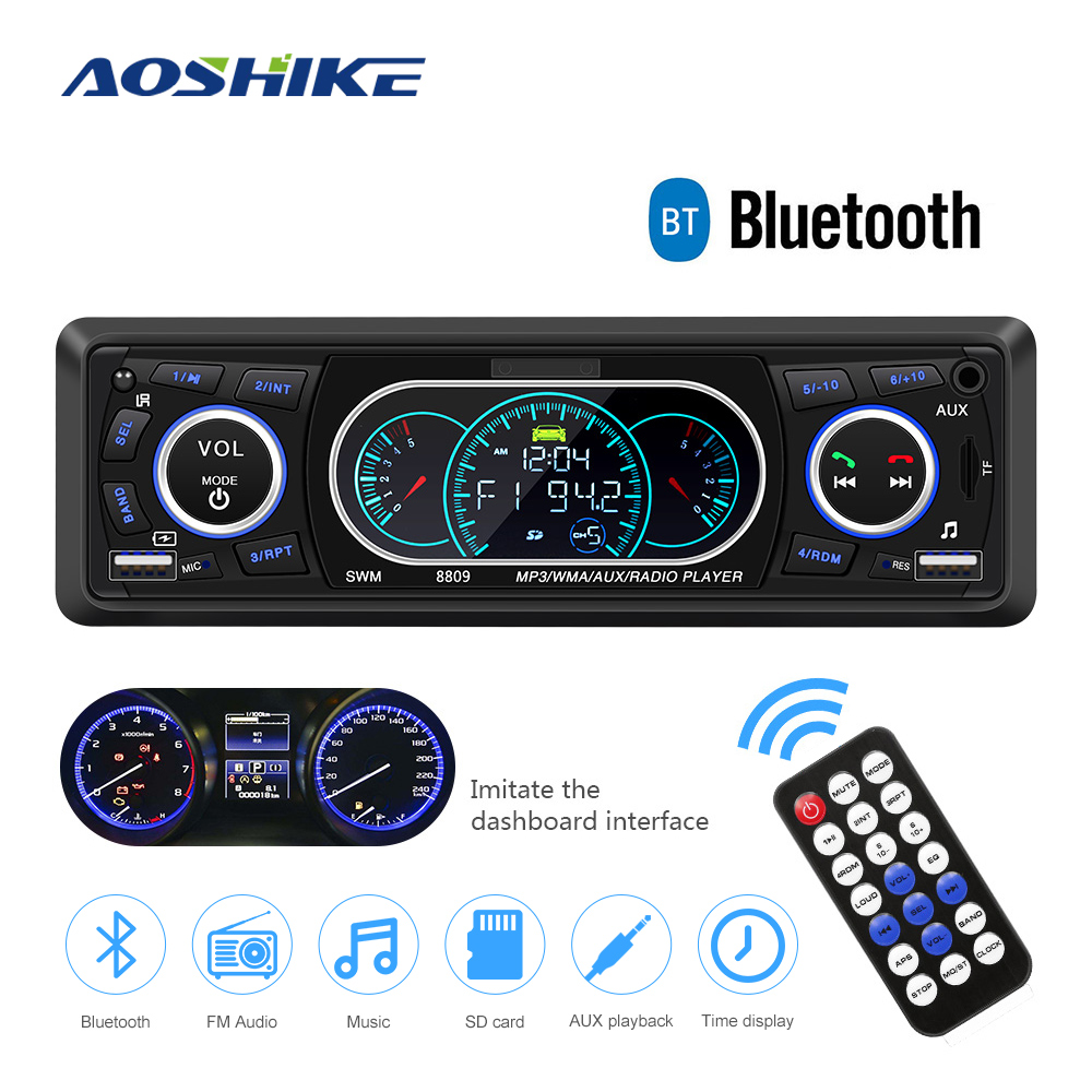 AOSHIKE Bluetooth 1-Din Car Stereo Audio In-Dash MP3 Radio Player Support USB TF AUX FM Receiver With Remote Control & USB Port