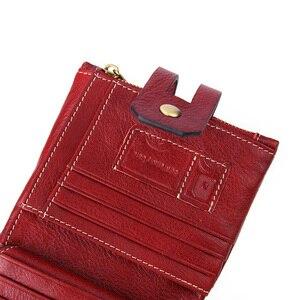 Image 5 - 100% gerçek hakiki deri cüzdan Vintage erkekler kadınlar küçük Trifoldl cüzdan bayanlar para çantası kısa çantalar sikke cep Vallet kırmızı