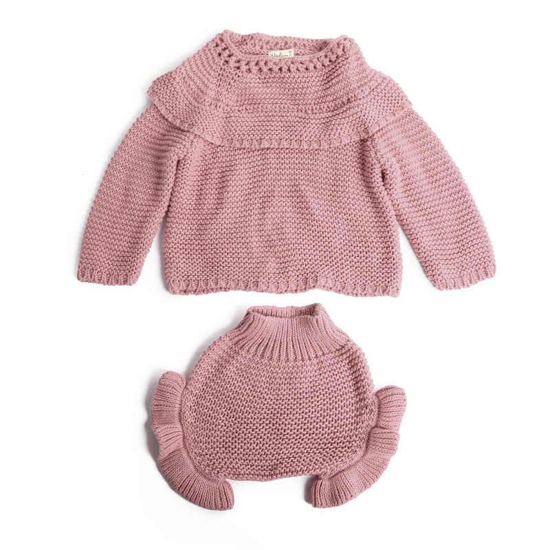 בגדי פעוטה סרוג תינוק בגדי סתיו בוטיק ילדים בגדים לפרוע בנות סוודר יילוד תינוק הודיה תלבושת סטים