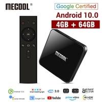 MECOOL KM3 Android 10,0 caja de TV 4G DDR4 64G ROM Control de voz dispositivo de TV inteligente Amlogic S905X2 2,4G 5G WiFi Bluetooth 4,1 reproductor de medios